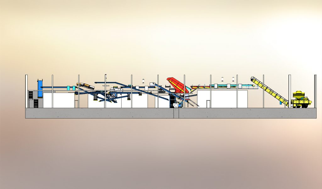 Materials recycling facility drawing  design for clean waste - MRF
